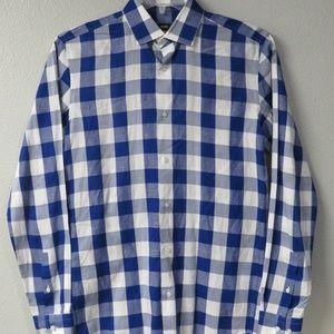 Hugo Boss Ismo Slim Fit White Blue 14 1/2 Shirt